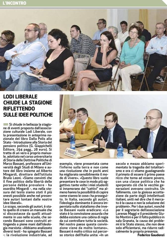"""Associazione Lodi Liberale - Presentazione del libro """"Dalla Polis allo Stato"""" di Marco Bassani e Alberto Mingardi"""